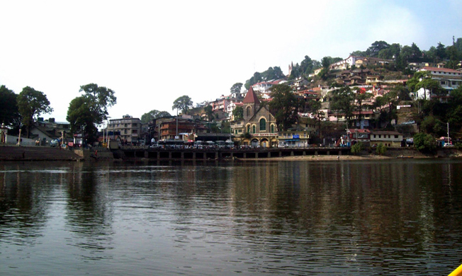 View of the Nainital and the town in Uttarakhand