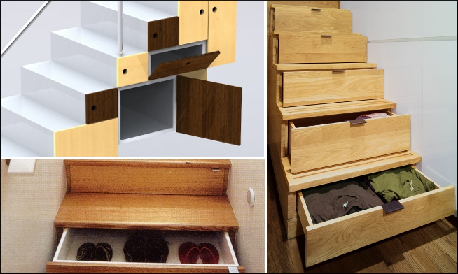 Staircase storage - effective space management of homes