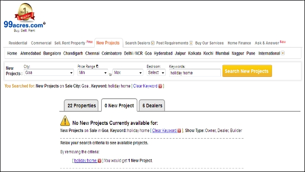 99acres: review of Indian property listing website