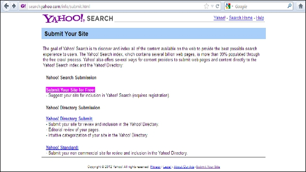 Yahoo website submission