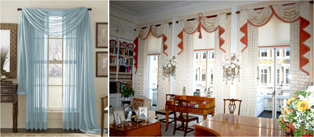 Same-material (L) and contrasting (R) curtain valences