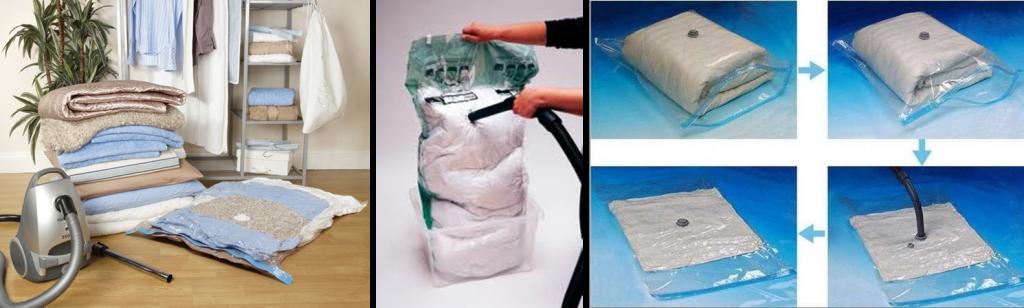 Vacuum-pack bags for storing bedlinen