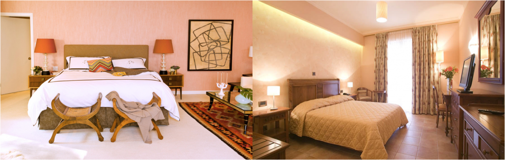Peach walls, neutral bedspread and curtains & table lamps for accent