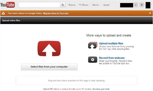 YouTube upload videos