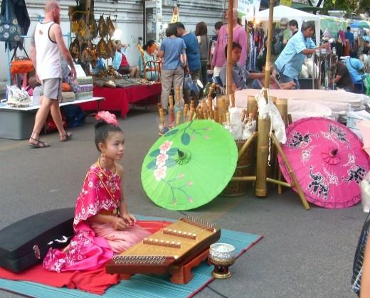Chiang Mai Sunday walking street market musician