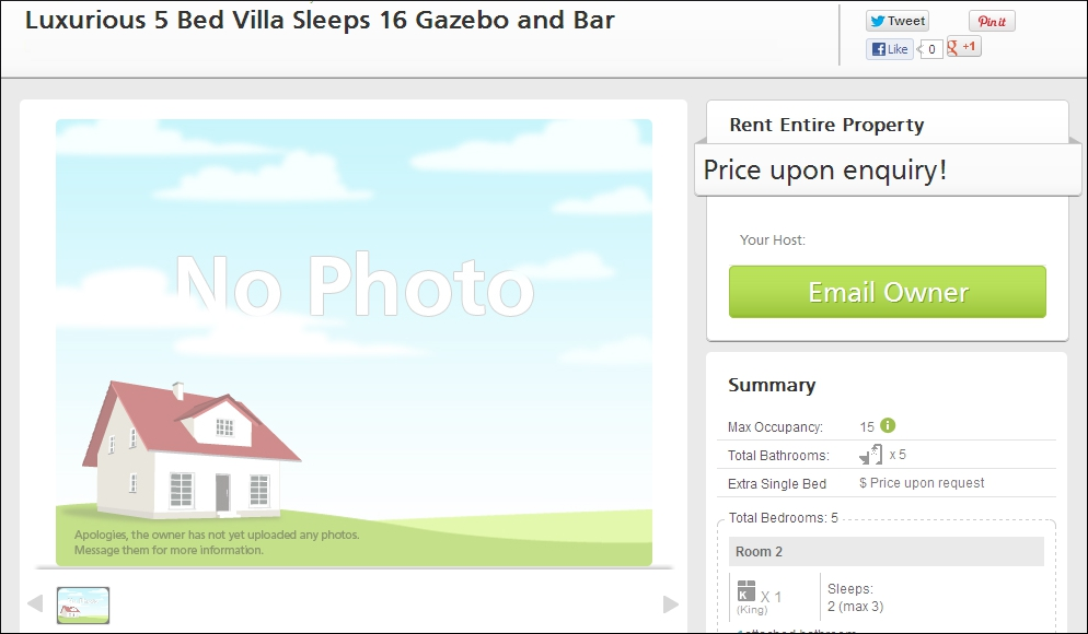 TripVillas Ad listing without tariff