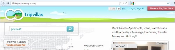 TripVillas search box