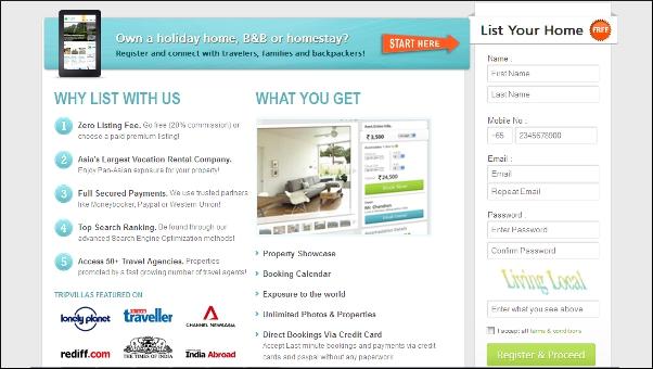 TripVillas.com registration page
