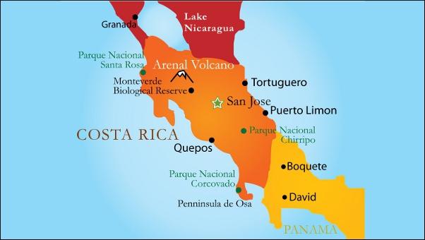 Tourist map Costa Rica