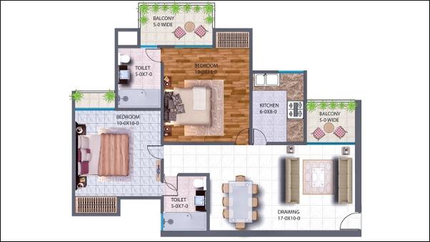 Antriksh NRI City Haridwar 2 BHK floor plan