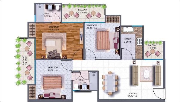 Antriksh NRI City Haridwar 3BHK floor plan