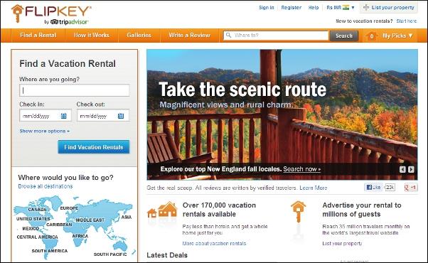 Flipkey.com homepage