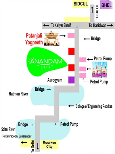 Anandam City Haridwar location map
