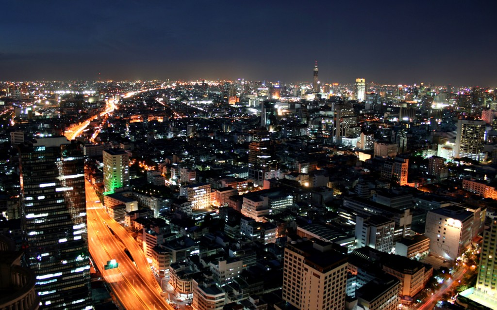 The city of Bangkok at night