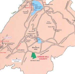 The location map of Green Hills County