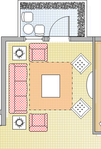 Space Planning for a 3+1+1 sofa set