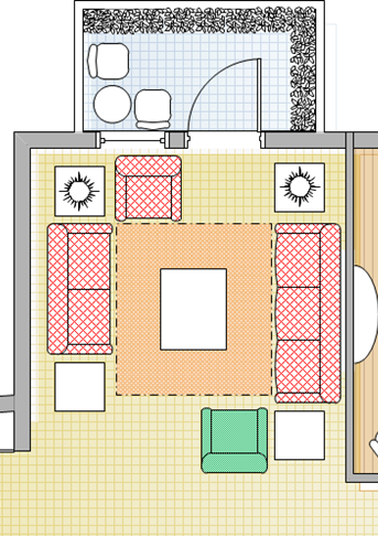 Space Planning for a 3+2+1 sofa set