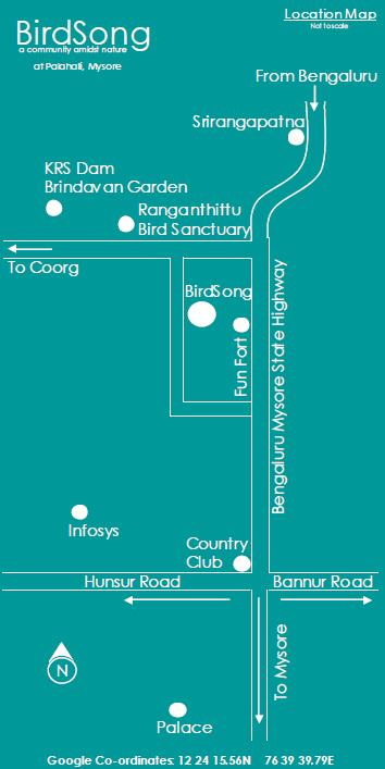 BirdSong Mysore location map