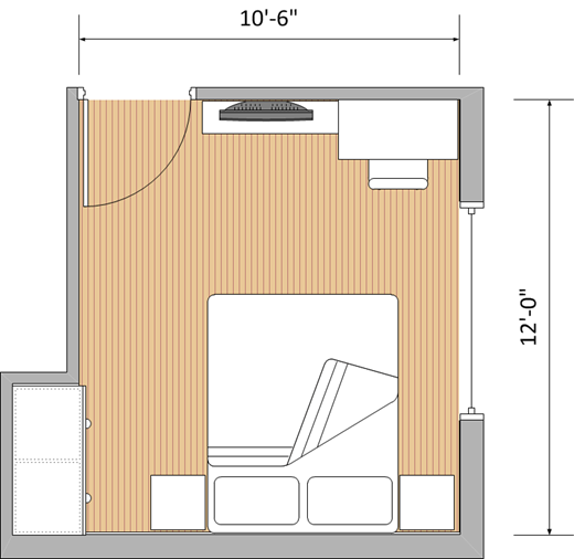 "10'6"" x 12' Bedroom (Without Wardrobe)"