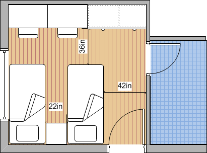 Circulation Space - Two Single Beds - Door at right angles to Window