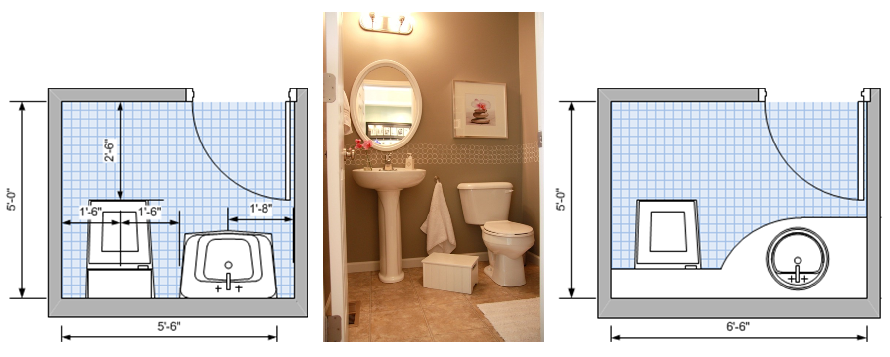 Minimum area two-fixture plan on the left; optimum area two-fixture plan on the right; where plumbing runs along one wall.