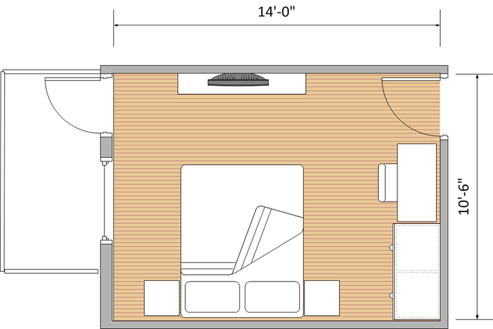 "10'6"" x 14' (with wardrobe and balcony)"