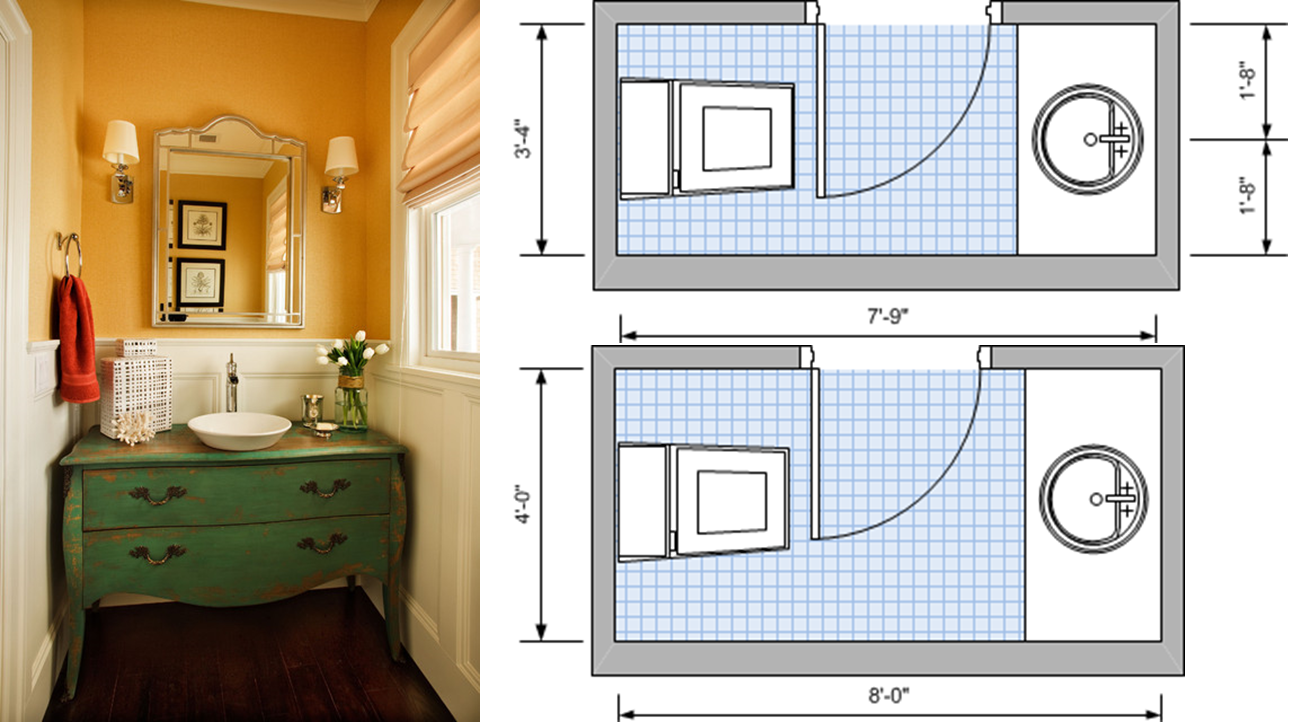 Two-fixture, dual plumbing line, minimum area plan on top, optimum area plan below.