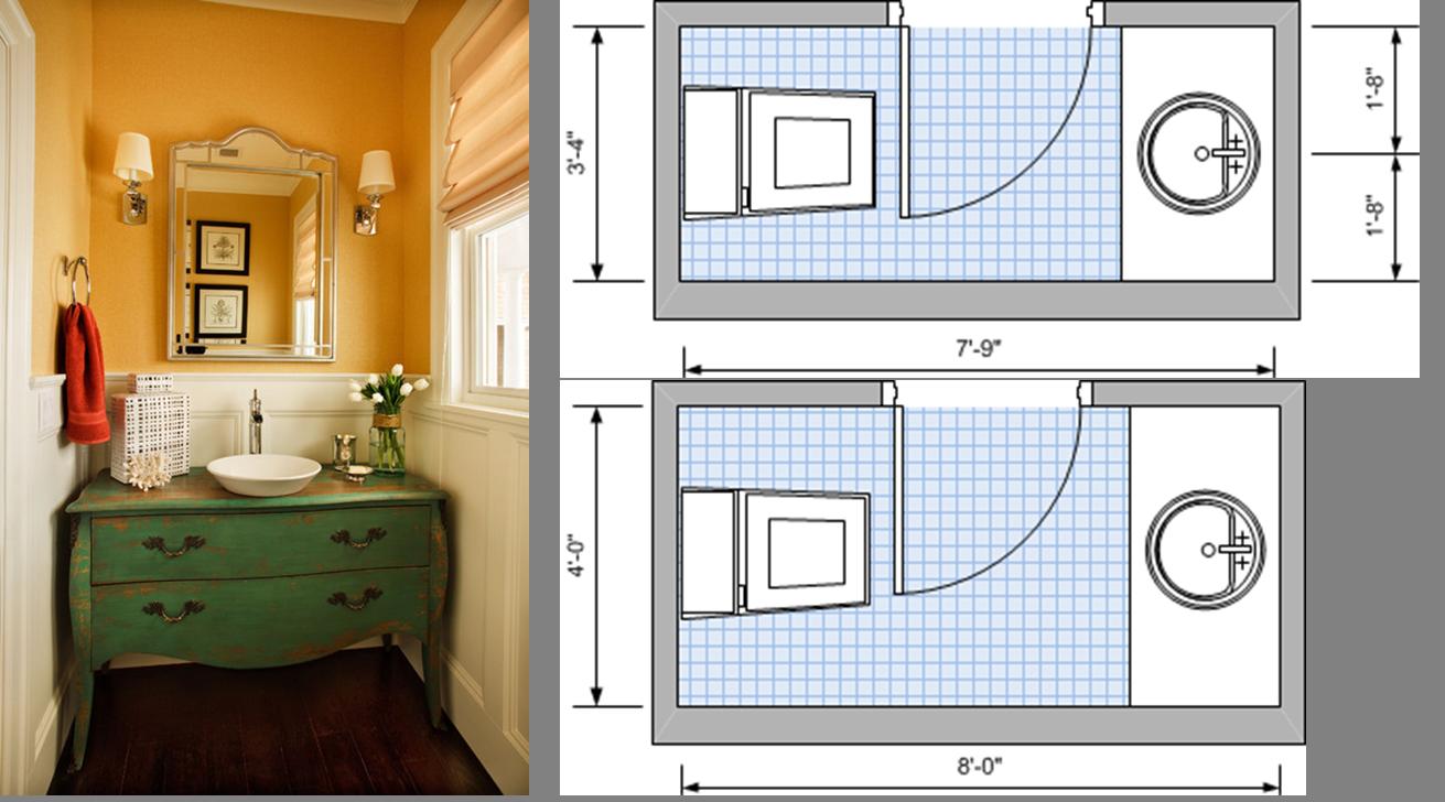Two-fixture, dual plumbing line, minimum area plan on top, optimum area plan below.