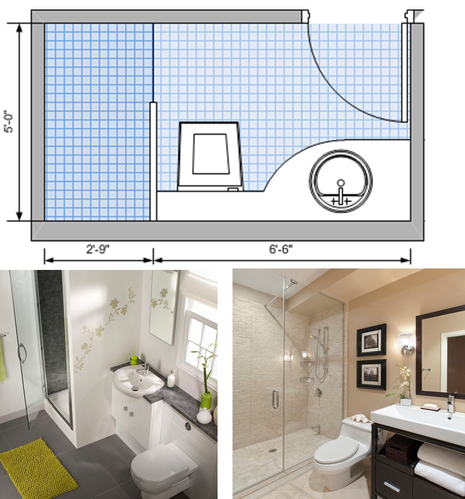 Compact three-fixture plan; single-wall plumbing