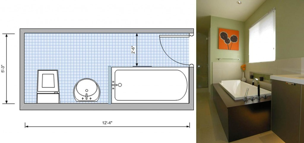 Single wall plumbing, with tub
