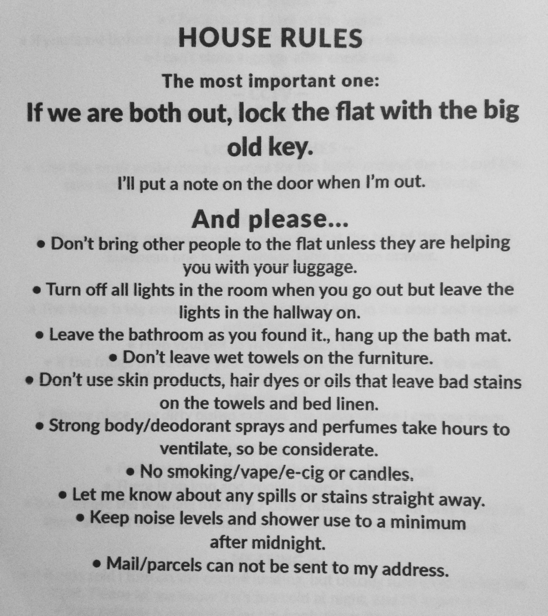 Airbnb House Rules - a Sample